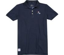 Polo-Shirt Baumwoll-Piqué dunkelblau
