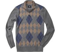 Pullover Troyer Davin Schurwolle blau- gemustert