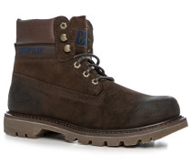 Herren Schuhe Schnürstiefeletten Leder kaffeebraun