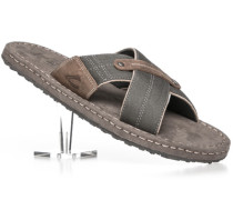 Herren Schuhe Sandalen Leder-Canvas schilfgrün-taupe braun,beige