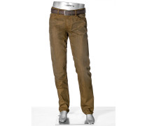 Herren Jeans Regular Slim Fit Denim ocker braun