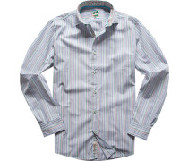 Hemd, Slim Fit, Baumwolle, capriblau-grün gestreift