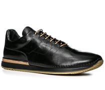 Herren Schuhe  Sneakers Leder schwarz schwarz,braun
