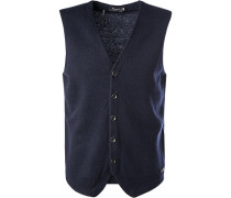 Pullover Weste Merino-Schurwolle marineblau