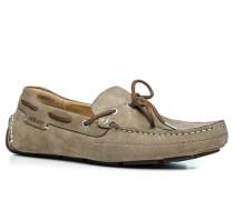 Schuhe Mokassins Nubukleder taupe