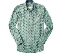 Ober-Hemd Slim Fit Popeline mintgrün gemustert