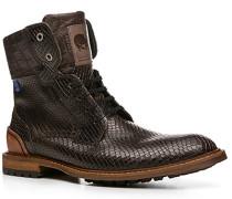Herren Schuhe Stiefeletten Kalbleder dunkelbraun geprägt braun,schwarz