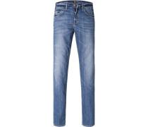 Herren Blue-Jeans Regular Fit Baumwoll-Stretch blau