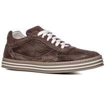 Herren Schuhe Sneaker Veloursleder graubraun braun,weiß