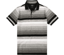 Polo-Shirt Polo, Baumwoll-Jersey, -schwarz gestreift