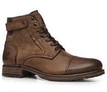 Herren Schuhe Schnür-Stiefel Kalbleder kaffeebraun braun,blau