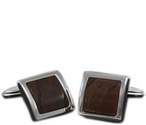 Schmuck Manschettenknöpfe Metall silber-obsidian