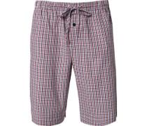 Schlafanzug Pyjamashorts Baumwolle weiß- kariert