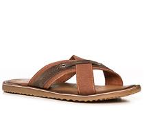 Herren Schuhe Sandalen Canvas-Leder cognac braun