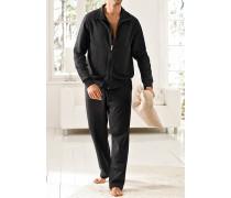 Herren Schlafanzug 'Giovanni' Baumwolle-Elasthan schwarz