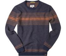 Pullover Baumwolle dunkelblau-orange gemustert