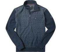Pullover Troyer, Baumwolle, nachtblau-grau gemustert