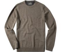 Pullover, Baumwolle, graugrün meliert