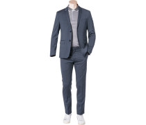 Anzug Regular Fit Wolle blaugrau meliert