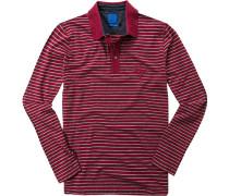 Polo-Shirt Polo Regular Fit Baumwoll-Piqué -grau gestreift