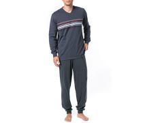 Schlafanzug Pyjama Baumwolle anthrazit gestreift