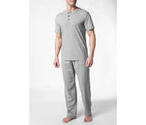 Herren Schlafanzug Pyjama Baumwoll-Stretch grau meliert