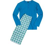 Schlafanzug Pyjama Baumwolle -grün kariert
