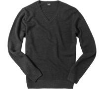 Herren Pullover Woll-Mix anthrazit grau