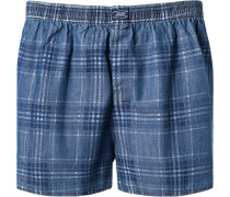 Boxer-Shorts Baumwolle indigo-jeansblau kariert