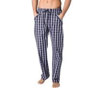 Herren Schlafanzug Pyjamahose Baumwolle marineblau-weiß blau,weiß