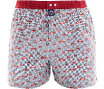 Herren Unterwäsche Boxershorts Baumwolle rot-weiß gemustert