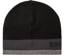 Mütze, Woll-mix, -grau gestreift
