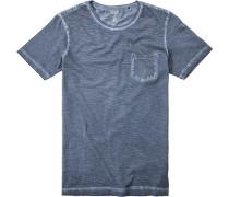 Herren T-Shirt Baumwolle navy meliert blau