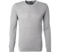 Pullover, Baumwolle, silbergrau