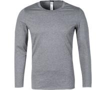 Herren Unterwäsche Long-Sleeve Baumwoll-Mix grau meliert