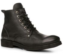 Herren Schuhe Stiefelette Leder schwarz schwarz,blau