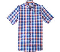 Herren Hemd Modern Fit Popeline blau-orange kariert blau,orange