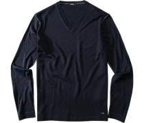 Pullover Merinowoll-Mix dunkelblau