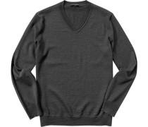 Pullover Schurwolle graublau meliert