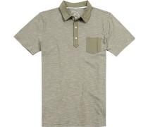 Polo-Shirt Modern Fit Baumwoll-Jersey khaki-weiß gestreift