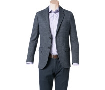Herren Jersey-Sakko Modern Fit Woll-Mix halbgefüttert dunkelblau meliert