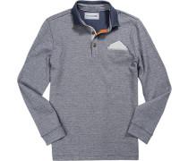 Polo-Shirt Polo Baumwolle rauchblau-grau meliert