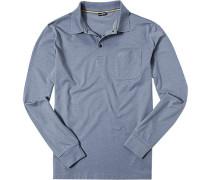 Herren Polo-Shirt Polo Baumwoll-Jersey hellblau meliert