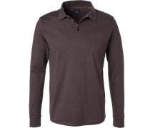 Polo-Shirt Polo, Regular Fit, Baumwoll-Jersey, graubraun meliert