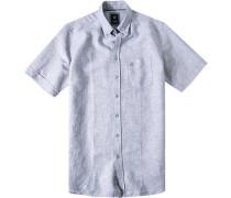 Herren Hemd Regular Fit Baumwoll-Leinen-Mix grau