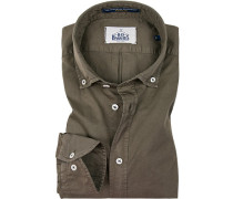 Hemd, Regular Fit, Popeline, khaki
