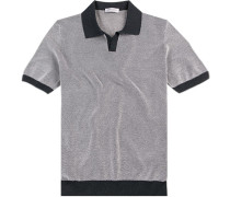 Polo-Shirt Polo, Baumwoll-Strick, weiß-marine gemustert