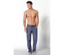 Herren Pyjamahose Baumwoll-Flanell jeansblau gemustert