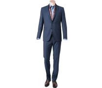 Herren Anzug Shaped Fit Schurwolle Super110 dunkelblau