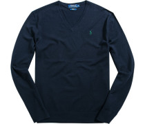 Pullover Slim Fit Wolle dunkelblau